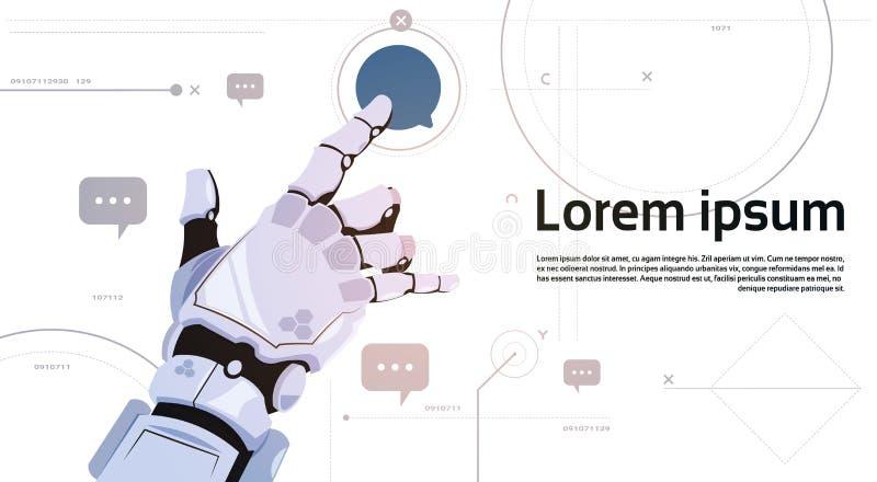 Conceito de uma comunicação robótico dos robôs do ícone da bolha do bate-papo do toque da mão e da inteligência artificial ilustração stock