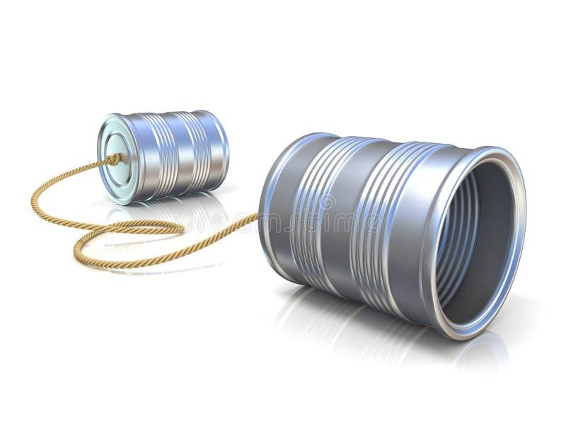 Conceito de uma comunicação: telefone das crianças da lata de lata com corda ilustração stock