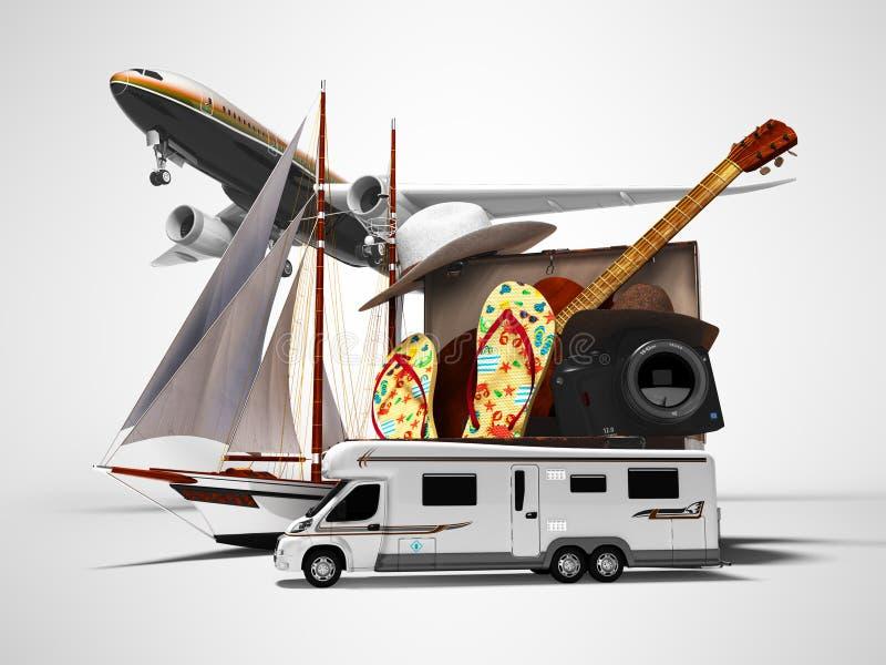 Conceito de viagem de verão ao estrangeiro de avião ou de carro com uma mala para relaxar as coisas 3d renderização em fundo cinz ilustração do vetor