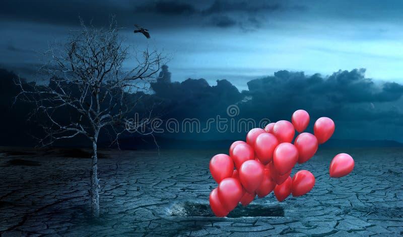 Conceito de vida após a morte As bolas do ar voam fora da sepultura e ilustração royalty free