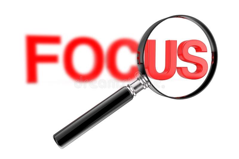 Conceito de vidro focalizado lente de aumento com sinal obscuro vermelho do foco rendi??o 3d ilustração do vetor
