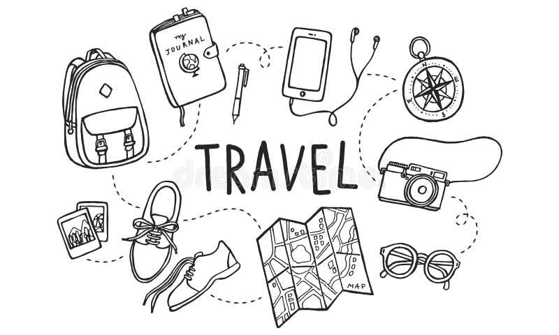 Conceito de visita das férias do feriado do turismo da excursão do curso ilustração stock