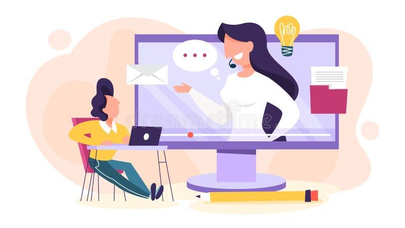 Conceito de Webinar Ideia da educa??o em linha Uma comunica??o ilustração stock