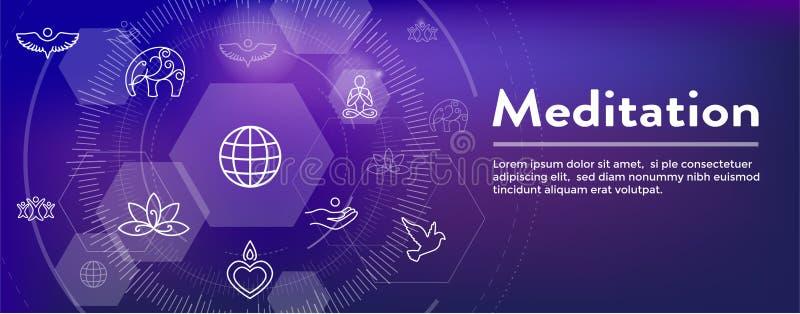 Conceito de Zen Meditation Mandala Design Symbol com a bandeira de encabeçamento da Web dos enfeites da ioga de Swirly ilustração do vetor