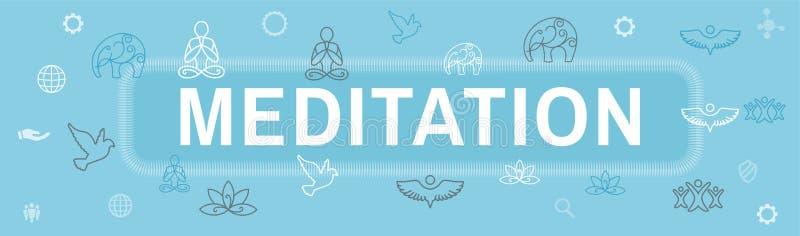 Conceito de Zen Meditation Mandala Design Symbol com a bandeira de encabeçamento da Web dos enfeites da ioga de Swirly ilustração royalty free