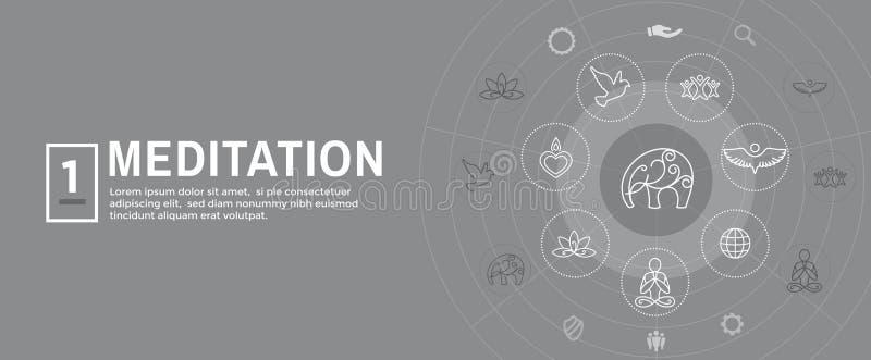 Conceito de Zen Meditation Mandala Design Symbol com a bandeira de encabeçamento da Web dos enfeites da ioga de Swirly ilustração stock