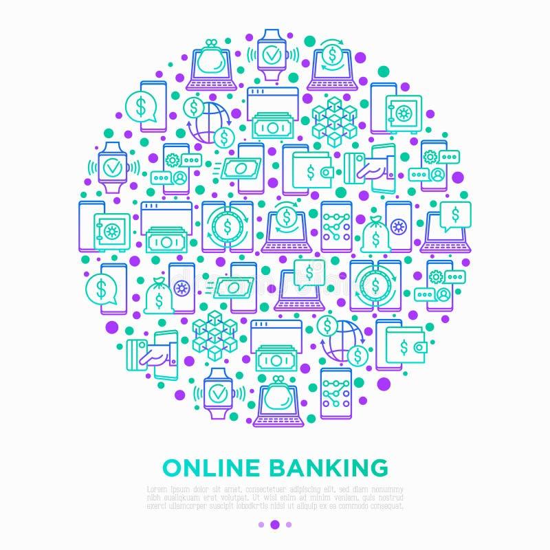 Conceito depositar em linha no círculo com linha fina ícones: app do depósito, segurança do dinheiro, banco do Internet, pagament ilustração stock