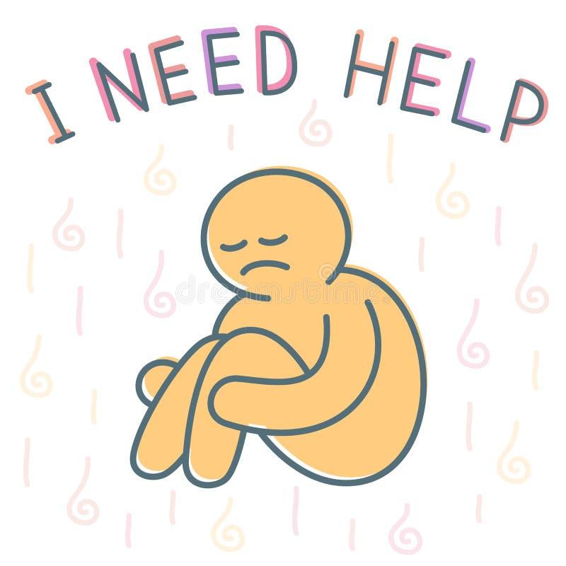 Conceito deprimido infeliz da ilustração do vetor do homem com o gráfico liso dos desenhos animados ilustração stock