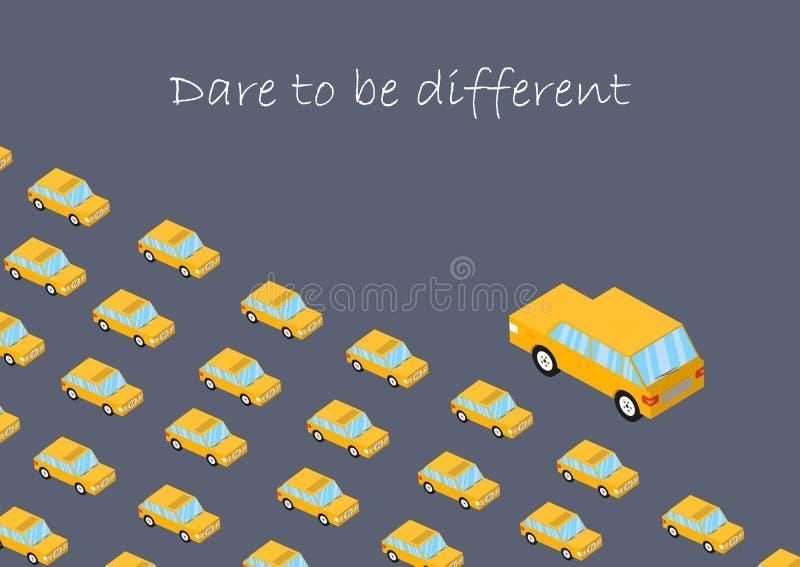 Conceito Desafio a ser diferente Carro dos gráficos Não mude outro, mudam-se Coragem do vetor, perseverança Pense produtivo ilustração royalty free