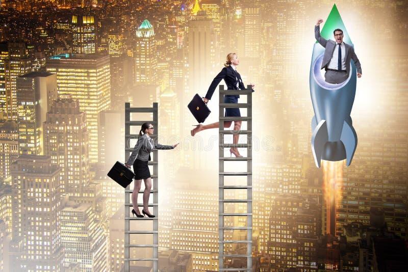 Conceito desigual das oportunidades da carreira para homens e mulheres imagem de stock