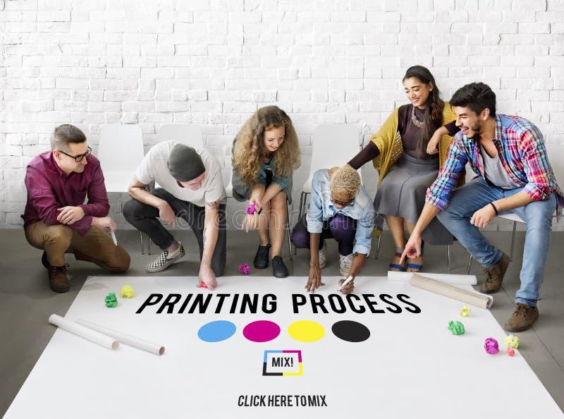 Conceito deslocado dos meios da indústria da cor da tinta do processo de impressão foto de stock