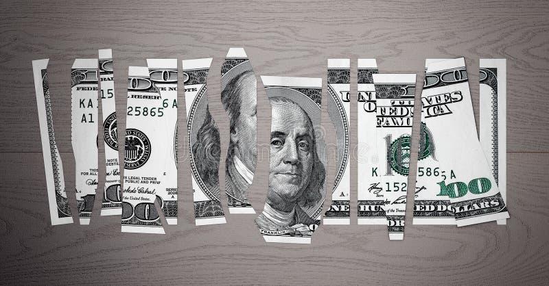 Conceito desvalorizado do dólar Nota de dólar do fragmento rendição 3d ilustração do vetor