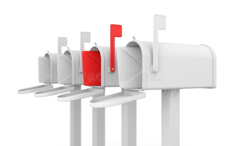 Conceito diferente. Caixa postal com envelope. ilustração royalty free