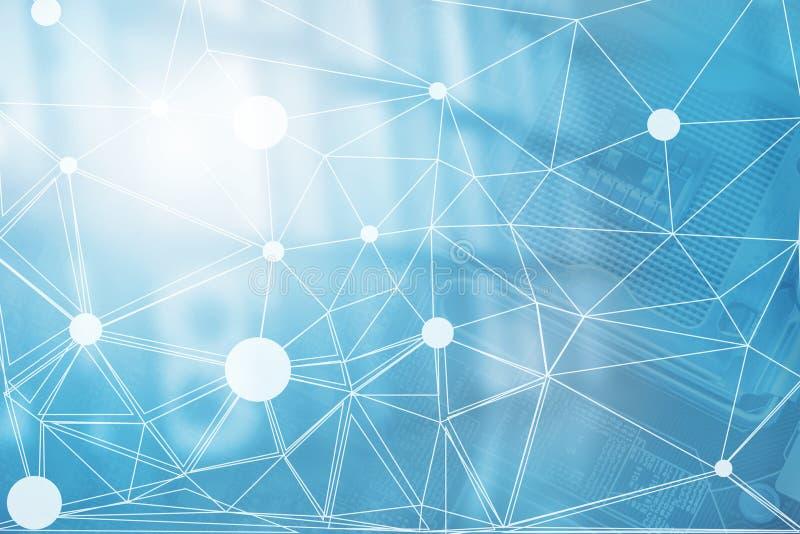 Conceito digital da corrente de bloco Fundo grande do Internet do blockchain dos dados da tecnologia do negócio Informação financ ilustração do vetor
