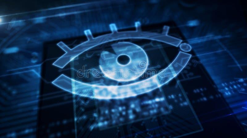 Conceito digital da fiscaliza??o do Cyber com olho do espi?o imagem de stock