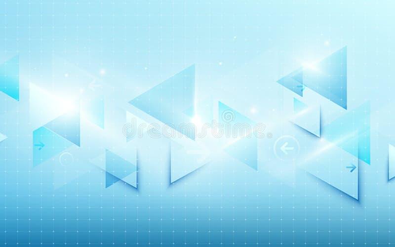 Conceito digital da tecnologia da tecnologia azul abstrata olá! e fundo brilhante dos triângulos Espaço para seu texto ilustração royalty free