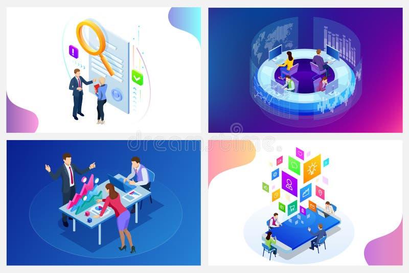 Conceito digital isométrico da estratégia de marketing Negócio, ideia do mercado do Internet, escritório e objetos em linha da fi ilustração stock