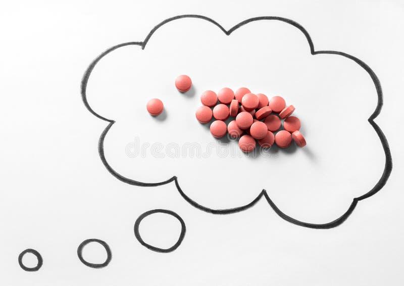 Conceito direito da medicamentação da toxicodependência ou do problema ou querer saber imagens de stock royalty free