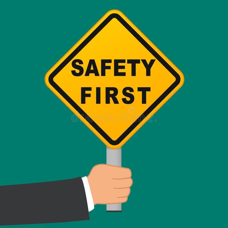 Conceito disponivel do sinal da segurança em primeiro lugar ilustração stock