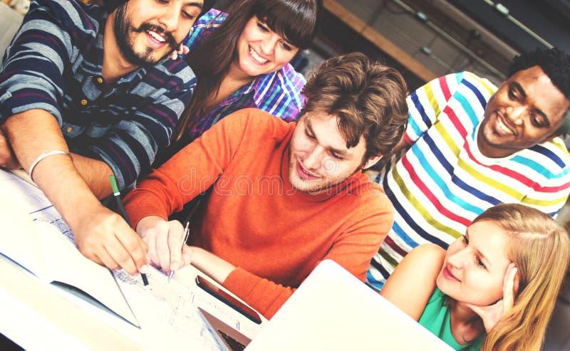 Conceito diverso de People Group Working do arquiteto imagem de stock