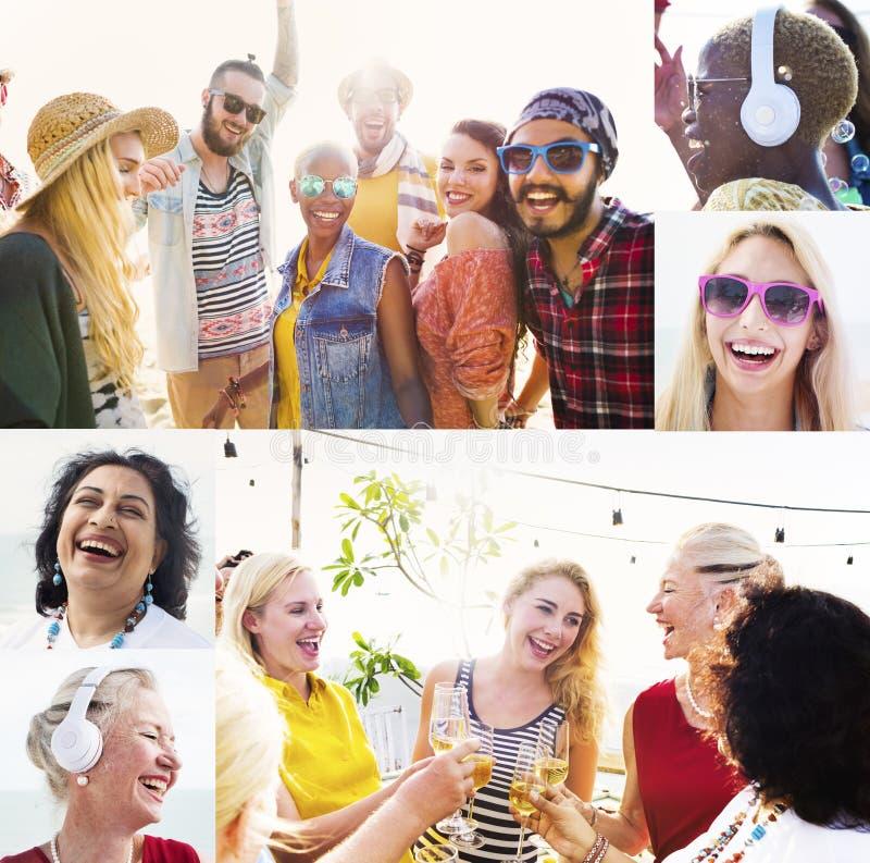 Conceito diverso dos povos da praia do verão das caras da colagem fotos de stock
