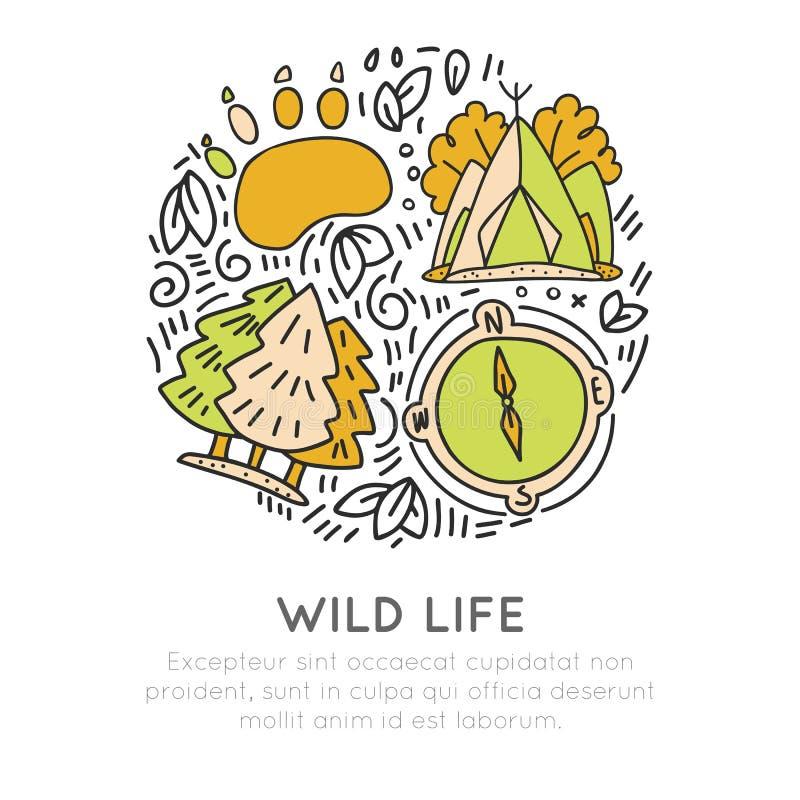 Conceito do ícone do curso sobre hikking, aventura da floresta, vida selvagem Carregue a fuga, a barraca, as árvores e o compasso ilustração stock