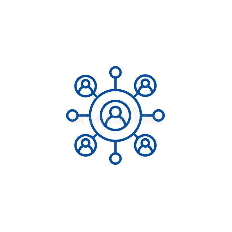 Conceito do ícone da área de negócio da rede Símbolo liso do vetor do negócio da rede, sinal, ilustração do esboço ilustração stock