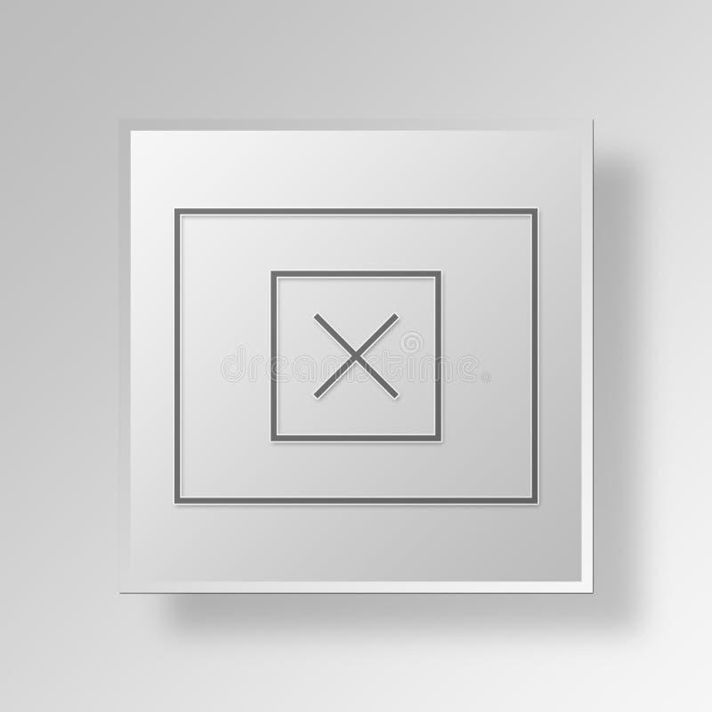 conceito do ícone do botão do wireframe do modelo 3D ilustração stock