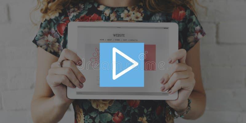 Conceito do ícone do entretenimento dos multimédios do botão de pausa do jogo fotografia de stock