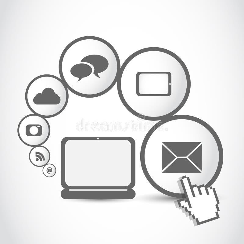 Conceito do ícone do Internet do computador da tabuleta do portátil ilustração do vetor