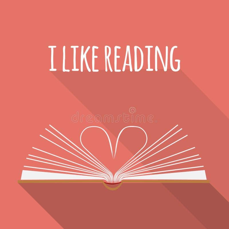 Conceito do ícone Eu gosto de ler Abra páginas do livro como o coração ilustração do vetor
