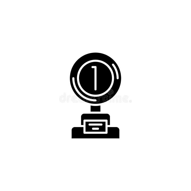 Conceito do ícone do preto da concessão da vitória Símbolo liso do vetor da concessão da vitória, sinal, ilustração ilustração royalty free
