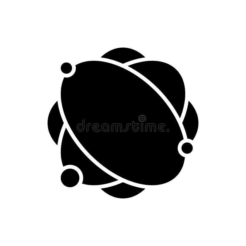 Conceito do ícone do preto da estrutura atômica Símbolo liso do vetor da estrutura atômica, sinal, ilustração ilustração royalty free