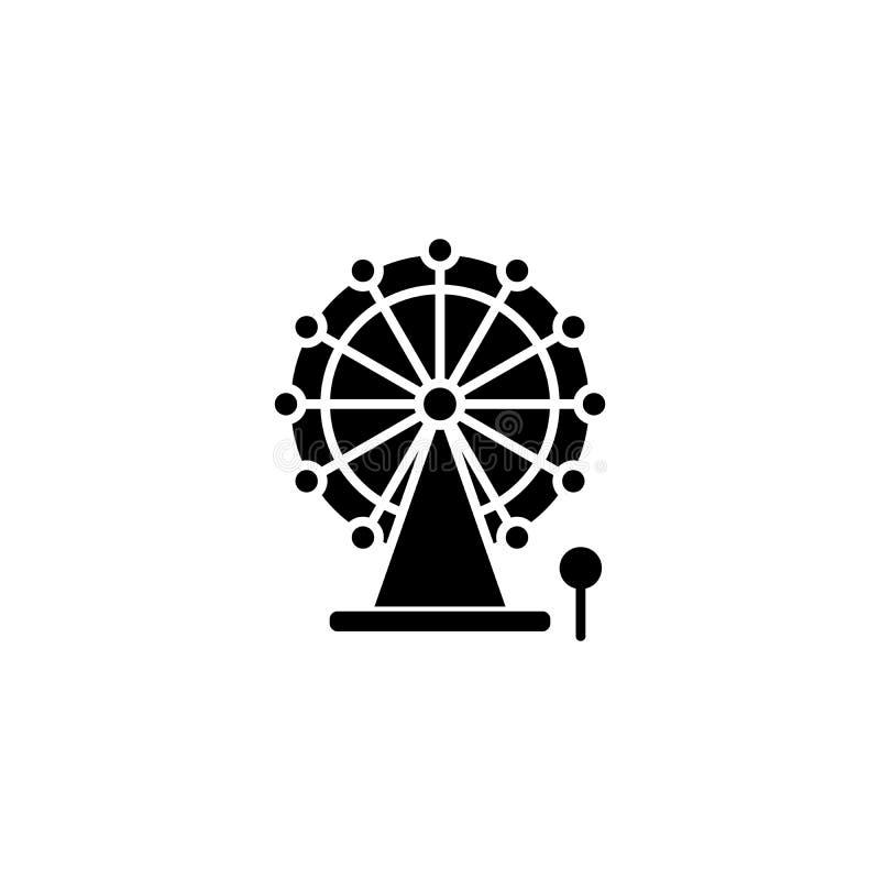 Conceito do ícone do preto da roda de Ferris Símbolo liso do vetor da roda de Ferris, sinal, ilustração ilustração stock