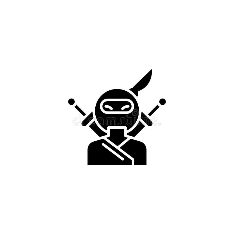 Conceito do ícone do preto de Ninja Símbolo liso do vetor de Ninja, sinal, ilustração ilustração royalty free