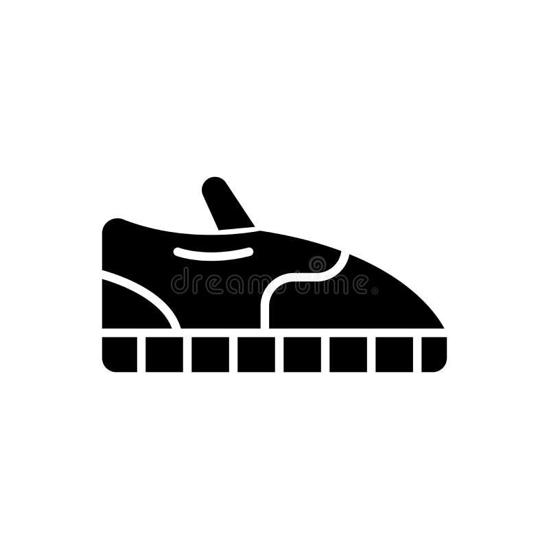 Conceito do ícone do preto de sapatas do esporte Ostente o símbolo liso do vetor das sapatas, sinal, ilustração ilustração do vetor