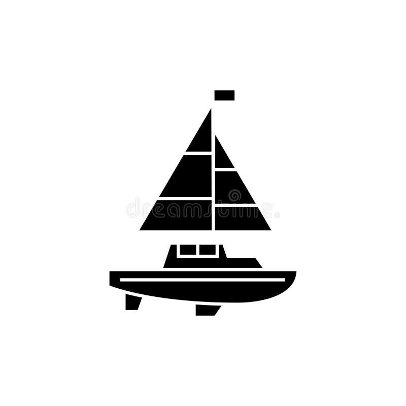Conceito do ícone do preto do iate da navigação Sinal do vetor do iate da navigação, símbolo, ilustração ilustração do vetor