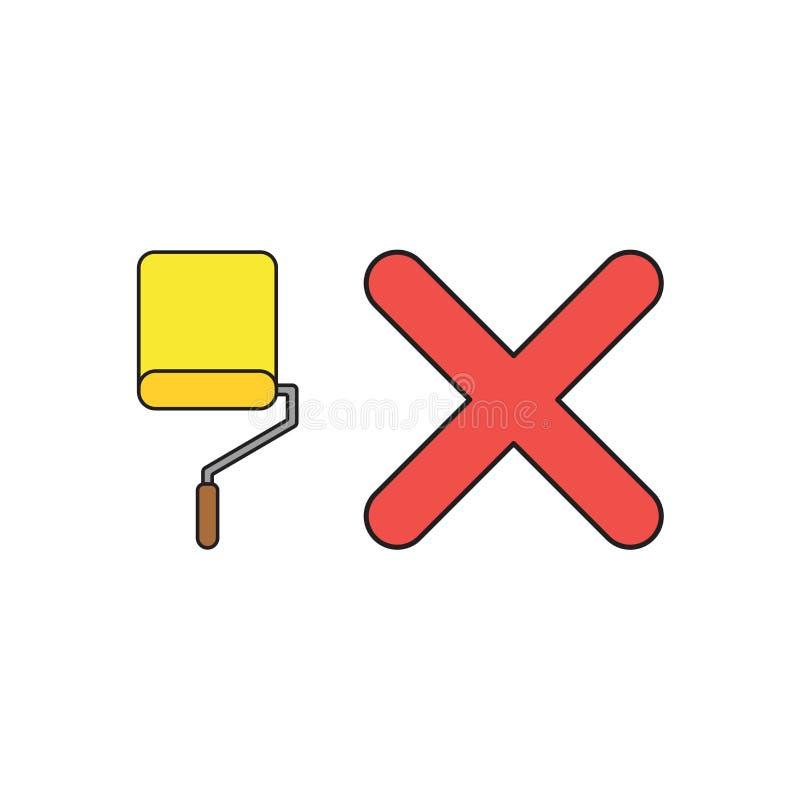 Conceito do ícone do vetor da escova do rolo de pintura com marca de x Esbo?os pretos e colorido ilustração stock