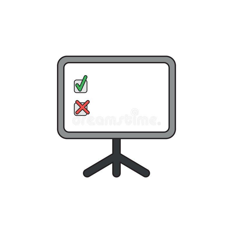 Conceito do ícone do vetor da marca de verificação e da marca de x dentro da placa da apresentação ilustração royalty free