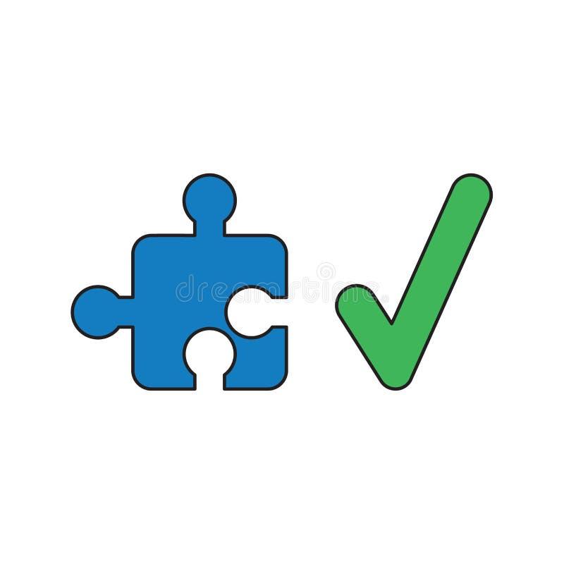 Conceito do ícone do vetor da parte do enigma de serra de vaivém com marca de verificação ilustração royalty free