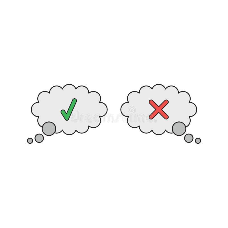 Conceito do ícone do vetor de duas bolhas do thougt com marca de verificação e marca de x ilustração royalty free