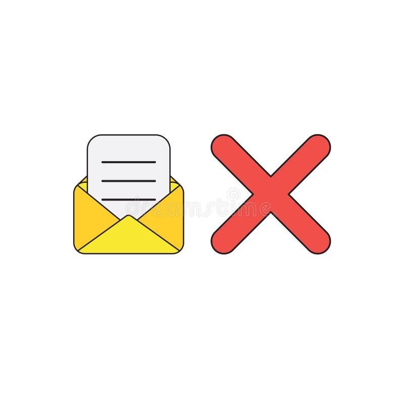 Conceito do ícone do vetor do envelope aberto com papel escrito e marca de x ilustração royalty free