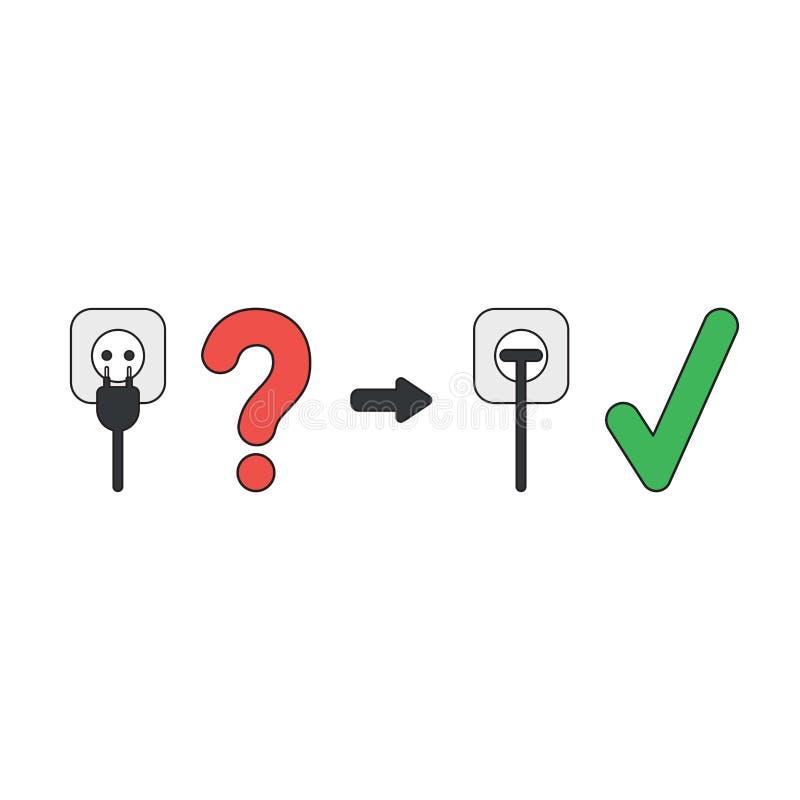 Conceito do ícone do vetor do obstruído na tomada com marca e ponto de interrogação de verificação ilustração royalty free