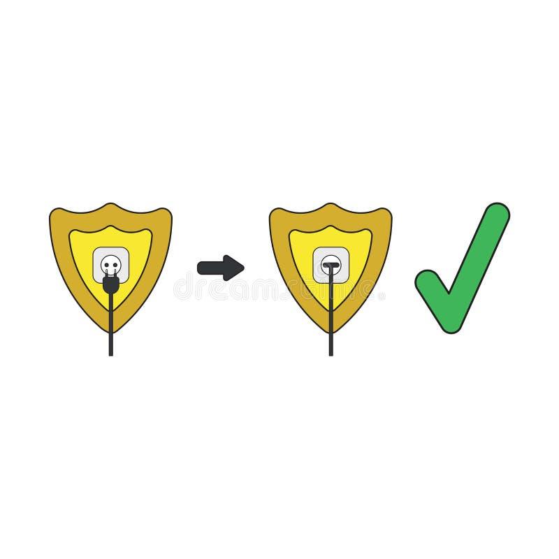 Conceito do ícone do vetor do protetor com a tomada e a tomada obstruídas na tomada com marca de verificação ilustração do vetor