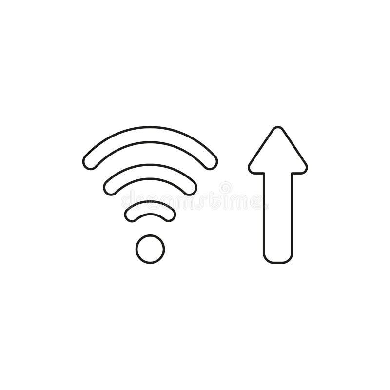 Conceito do ícone do vetor do símbolo sem fio do wifi com a seta que move-se acima simbolizando a conexão a Internet de alta velo ilustração do vetor