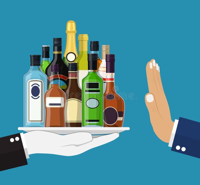 Conceito do abuso de álcool ilustração do vetor