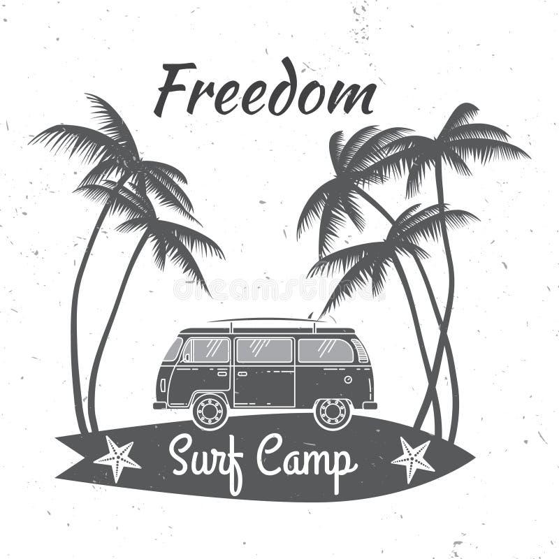 Conceito do acampamento da ressaca verão do vetor que surfa o crachá retro Conceito surfando para a camisa ou o logotipo, cópia,  ilustração royalty free