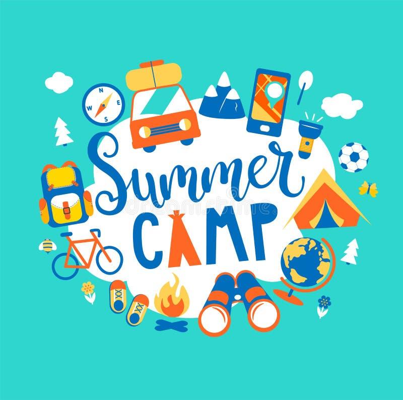 Conceito do acampamento de verão com rotulação handdrawn ilustração do vetor