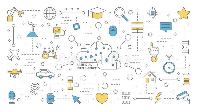 Conceito do AI ou da inteligência artificial Tecnologia futurista ilustração do vetor