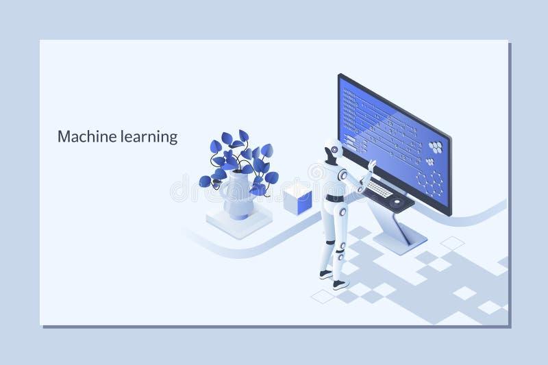 Conceito do algoritmo de aprendizagem da máquina com a rede neural artificial, aprendendo profundamente ilustração royalty free